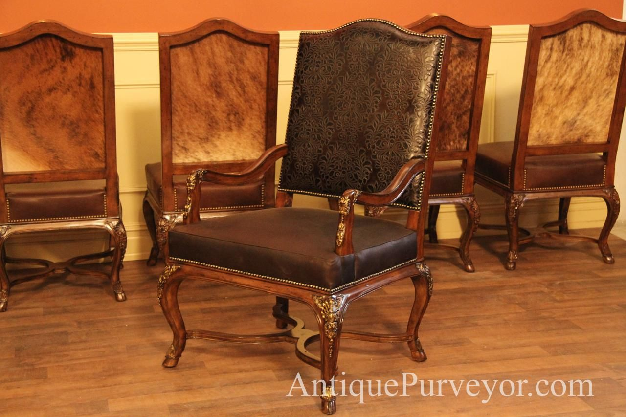 Brown Luxurious Hair Hide Upholstered Dining Room Arm Chairs