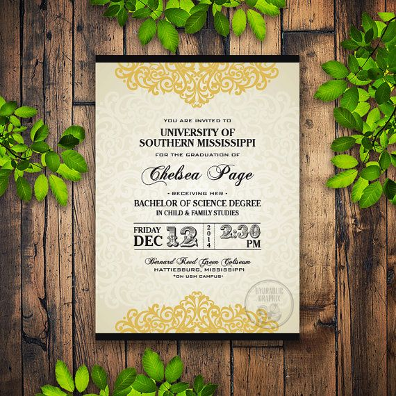 My Graduation Day 2016 Class Of Invitation Elegant Party Printable By HydraulicGraphix