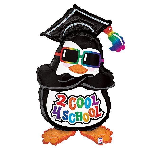 "Penguin Graduation Balloon, 36"" high Too Cool For School Graduation Penguin"