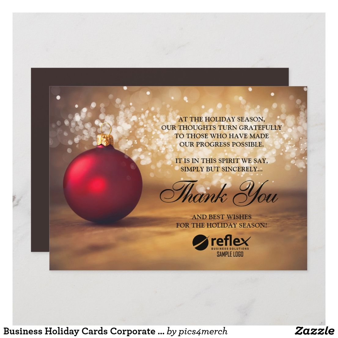 Business Holiday Cards Corporate Thank You Card Zazzle Com In