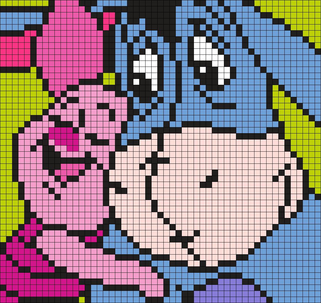 Piglet Hugging Eeyore Square Perler Bead Pattern Bead