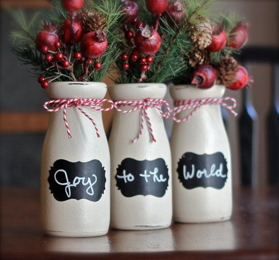 Christmas Decorated Milk Bottles