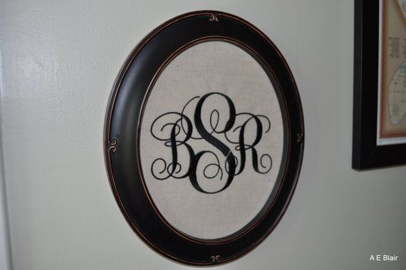Embroidered Monogram in a frame - would be so cute for a gallery wall! #monogram