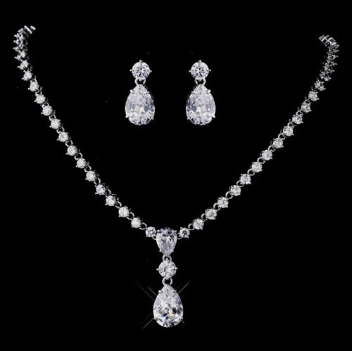 Crystal Wedding Jewelry Bridal Necklace Sets Teardrop