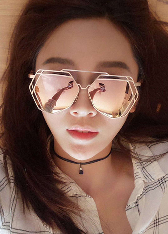a70f7e782ff4 Amazon.com  Transer Twin-Beams Geometry Design Women Metal Frame Mirror Sunglasses  Cat Eye Glasses (Rose Gold)  Clothing