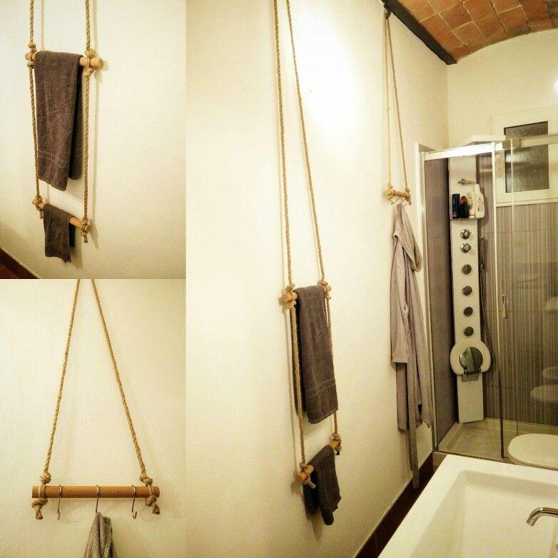 Porta asciugamani e porta accappatoio fai da te homemade - Porta asciugamani fai da te ...