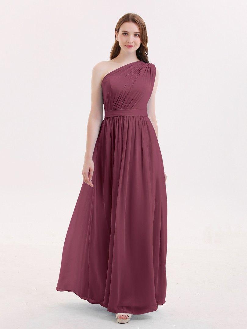 85d1a45f615 Babaroni Maggie One Shoulder Chiffon Long Bridesmaid Dress