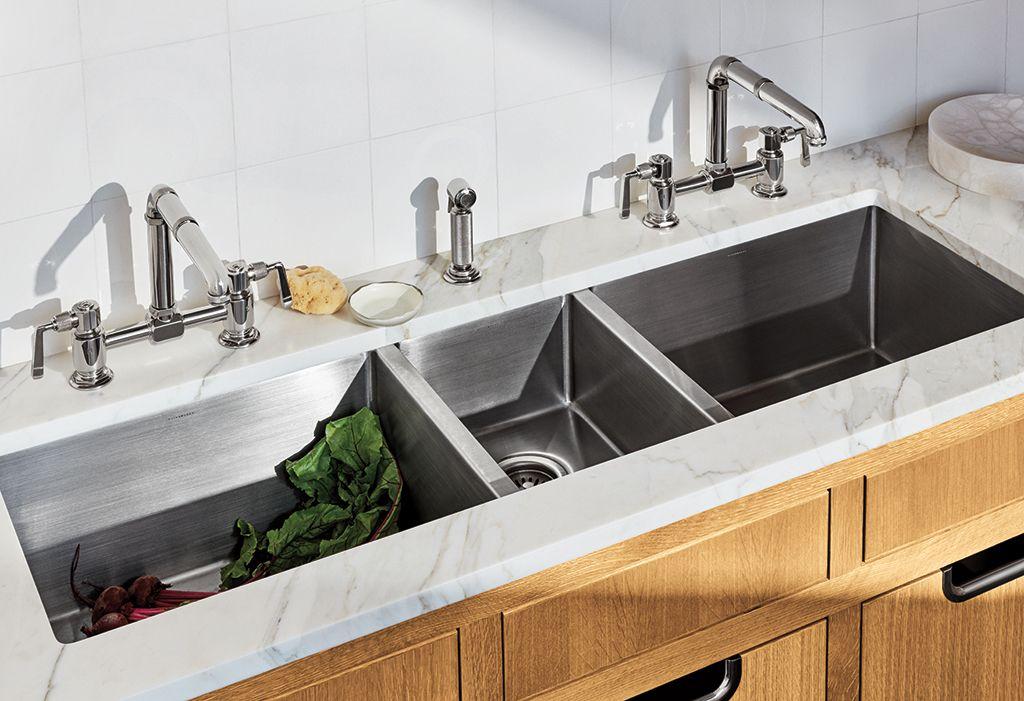 R W Atlas Two Hole Bridge High Profile Kitchen Faucet Metal Side