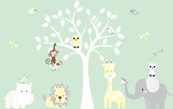 nursery white jungle tree giraffe elephant lion owl leaves home house Art Decals Wall Sticker Vinyl Wall Decal stickers baby livng bed room on Etsy, $95.00