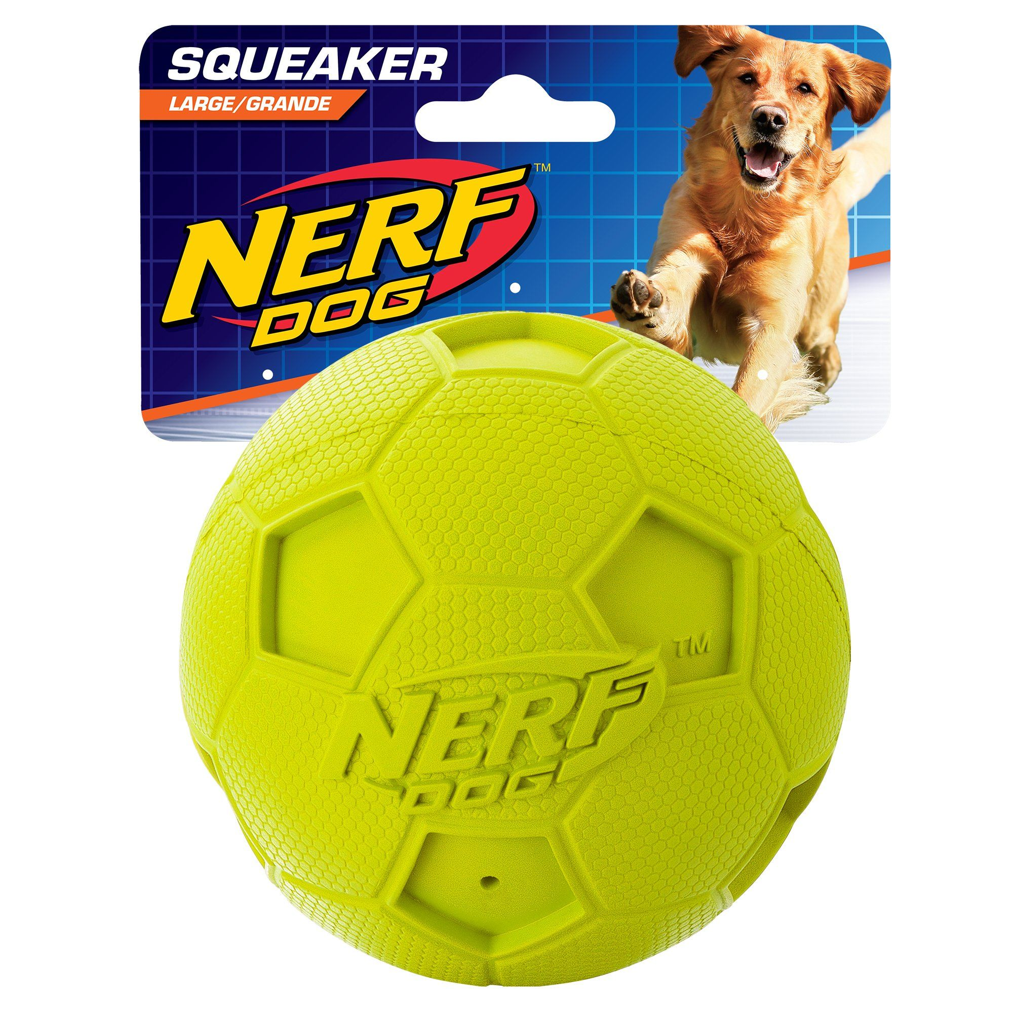 Nerf Dog Soccer Squeak Ball Dog Toy Large Green Click Image To
