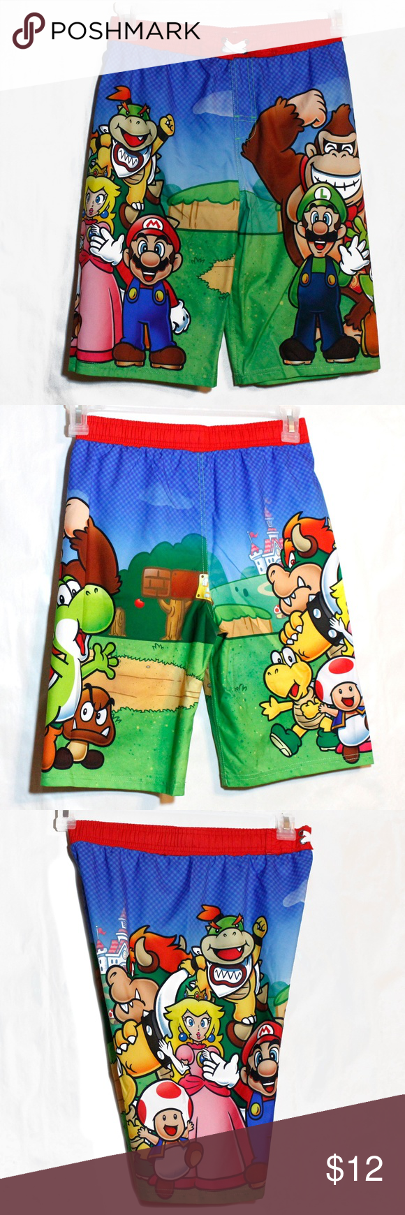 5c0e8749b0 NWOT Boys Swim Trunks Super Mario Brothers Large New never Worn. Bright All  Over Graphic