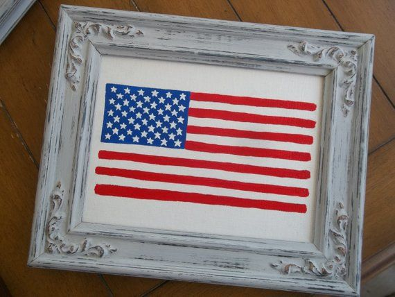 American Flag Painting Red White And Blue Americana Acrylic Painting 6x8 Rustic Decor Country Decor Flags Patriotic Art American Flag Art #americanflagart