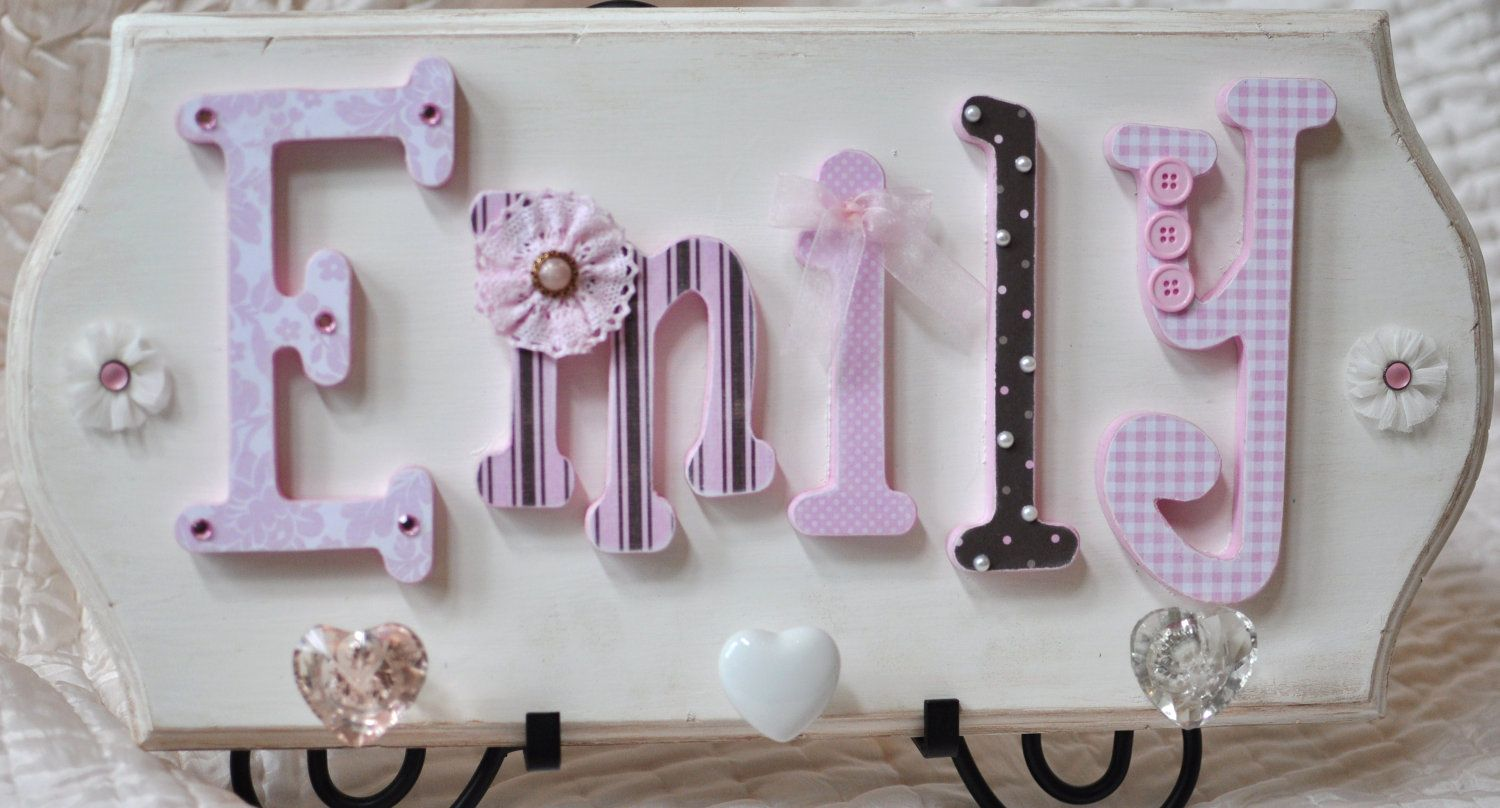 Custom Baby Name Sign Wooden Nursery Letters Childrens Room Decor