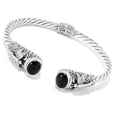 149 986 Silver By Samuel B 7 10 X 8mm Gemstone Dragonfly Hinged Bangle Bracelet