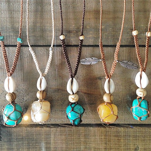 Turquoise Howlite or Honey Calcite macrame cocoons with cowrie shells, all $38 each. Comment sold with your email to purchase any.