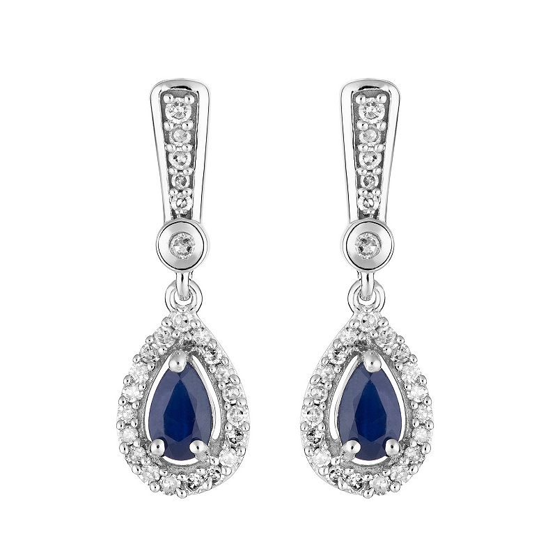 1 5 Ct T W Genuine Blue Sapphire 10k White Gold Drop Earrings White Gold Sapphire White Gold Drop Earrings Halo Diamond