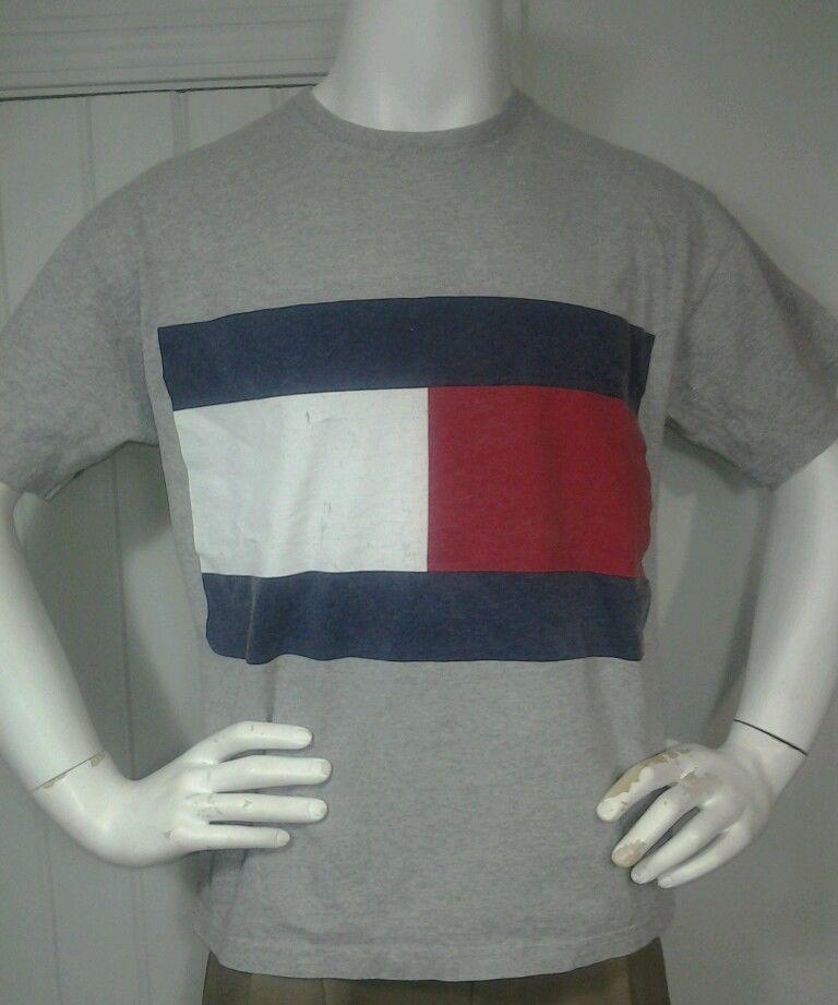 Vintage 90s Tommy Hilfiger T Shirt  Rare  Block Flag Logo Hip Hop Sz M #TommyHilfiger #GraphicTee