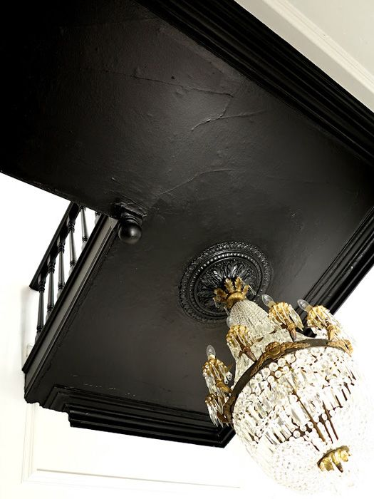 Ceiling Painted In Farrow And Ball Pitch Black 256 Black Paint Color Schemes Painted Staircases Black Paint Color Black Ceiling