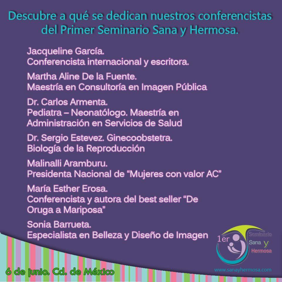 Conoce lo que hacen nuestro conferencistas del PRIMER SEMINARIO SANA Y HERMOSA. No te lo puedes perder este 6 de junio en el Centro Médico Nacional. Más información en https://www.facebook.com/events/454361178053386/