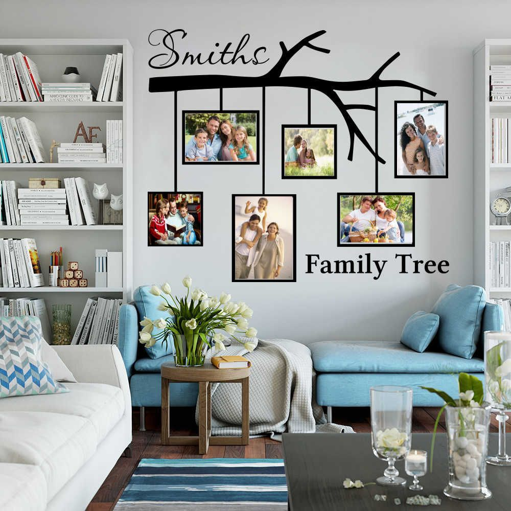 large personalized name family tree with picture frames