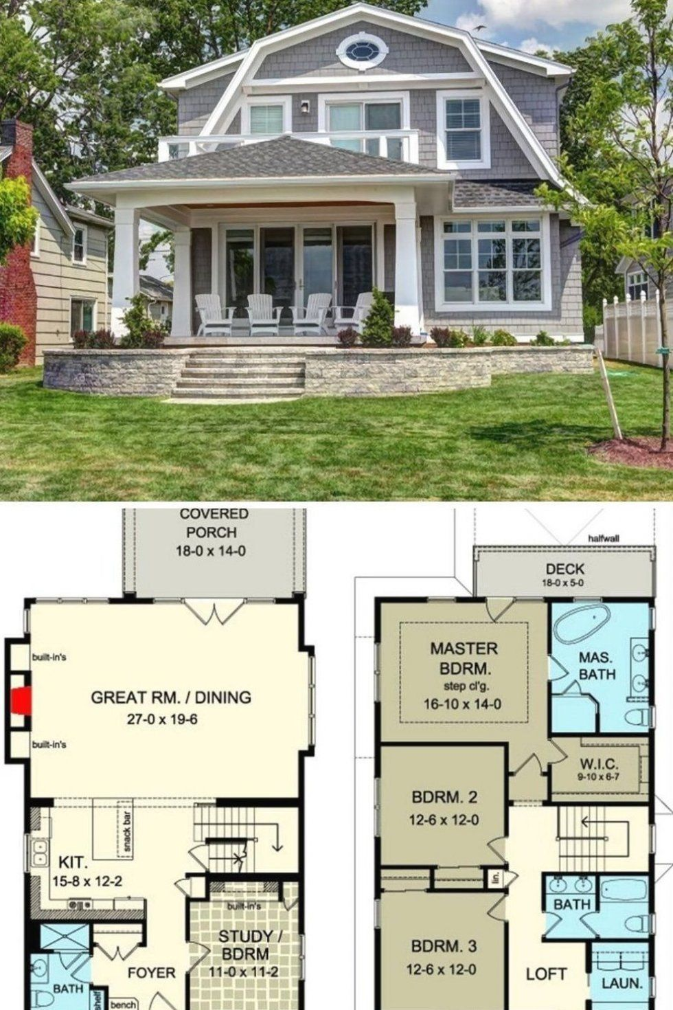 4 Bedroom Two Story Country Cottage Home With Gambrel Roof Floor Plan Country Cottage House Plans Cottage House Plans Craftsman Exterior