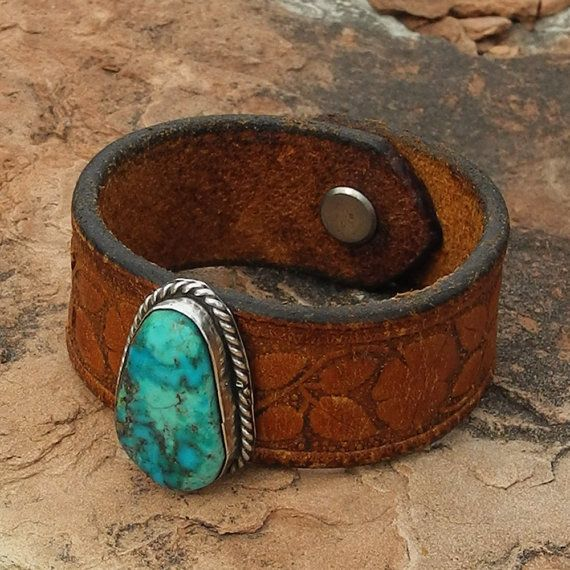 43083f0c089fdd Leather Cuff Bracelet with Turquoise - Old Pawn on Vintage Western ...