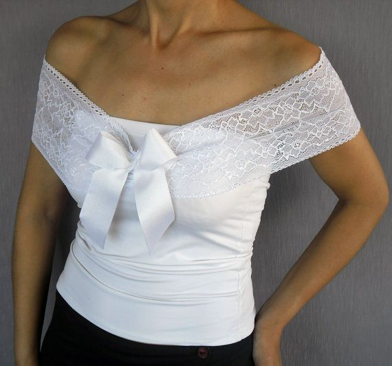 White Lace Bridal Shoulder Wrap Ribbon Bow por MammaMiaBridal, $33.00