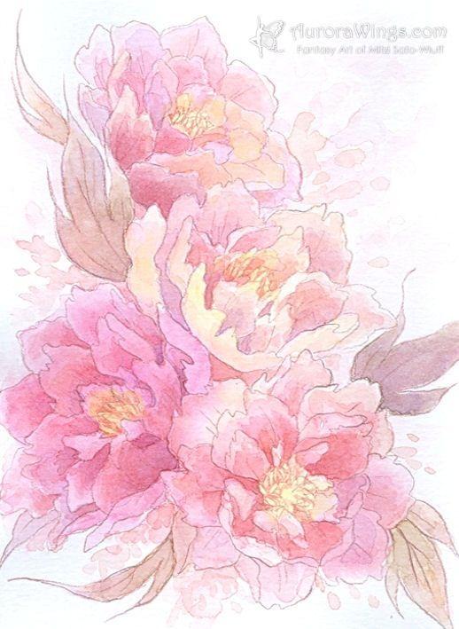 Peony Watercolor Flower Tattoos: Peonies Watercolor- Neck Tattoo