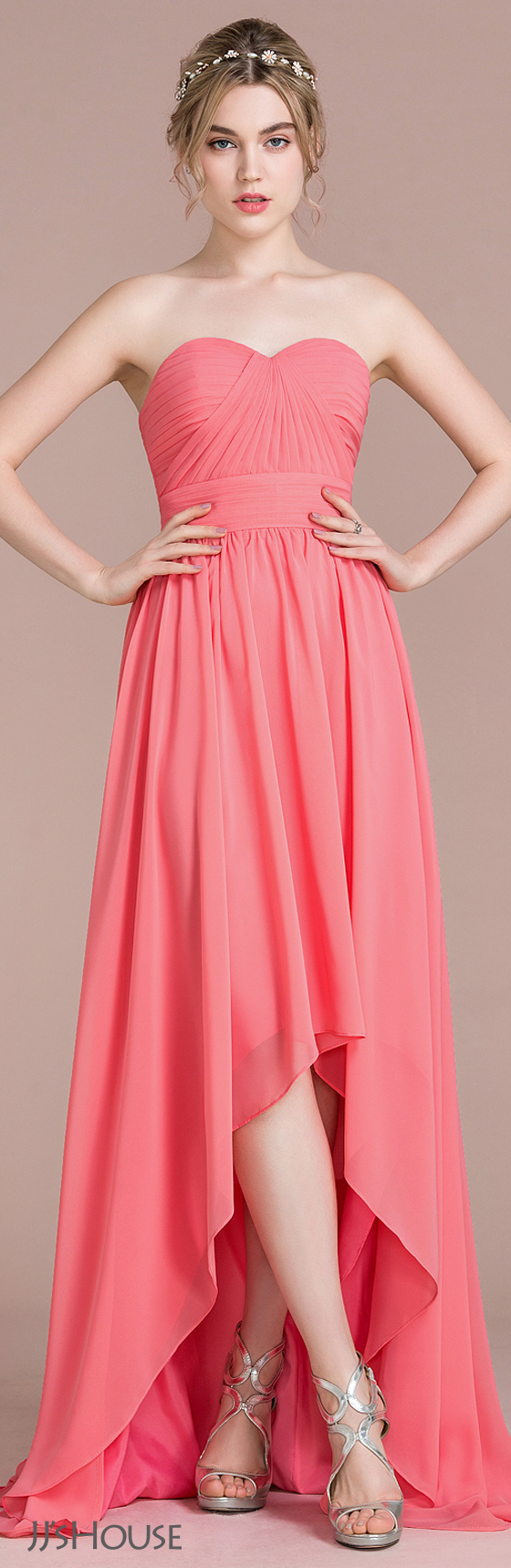A-Line/Princess Sweetheart Asymmetrical Chiffon Bridesmaid Dress ...
