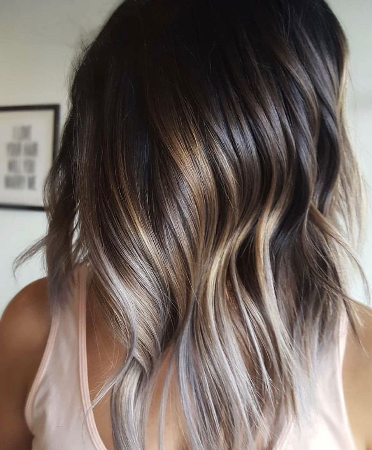 Deep Dark Balayage With Light Ash Blonde Pieces Within Absolutely Stunning Boliage Hair Ash Blonde Balayage Blonde Balayage
