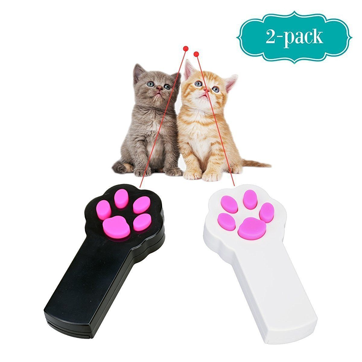 Ang 2 Pack Paw Style Red Pot Exercise Chaser For Cat And Dog Led Valentine Light Interactive
