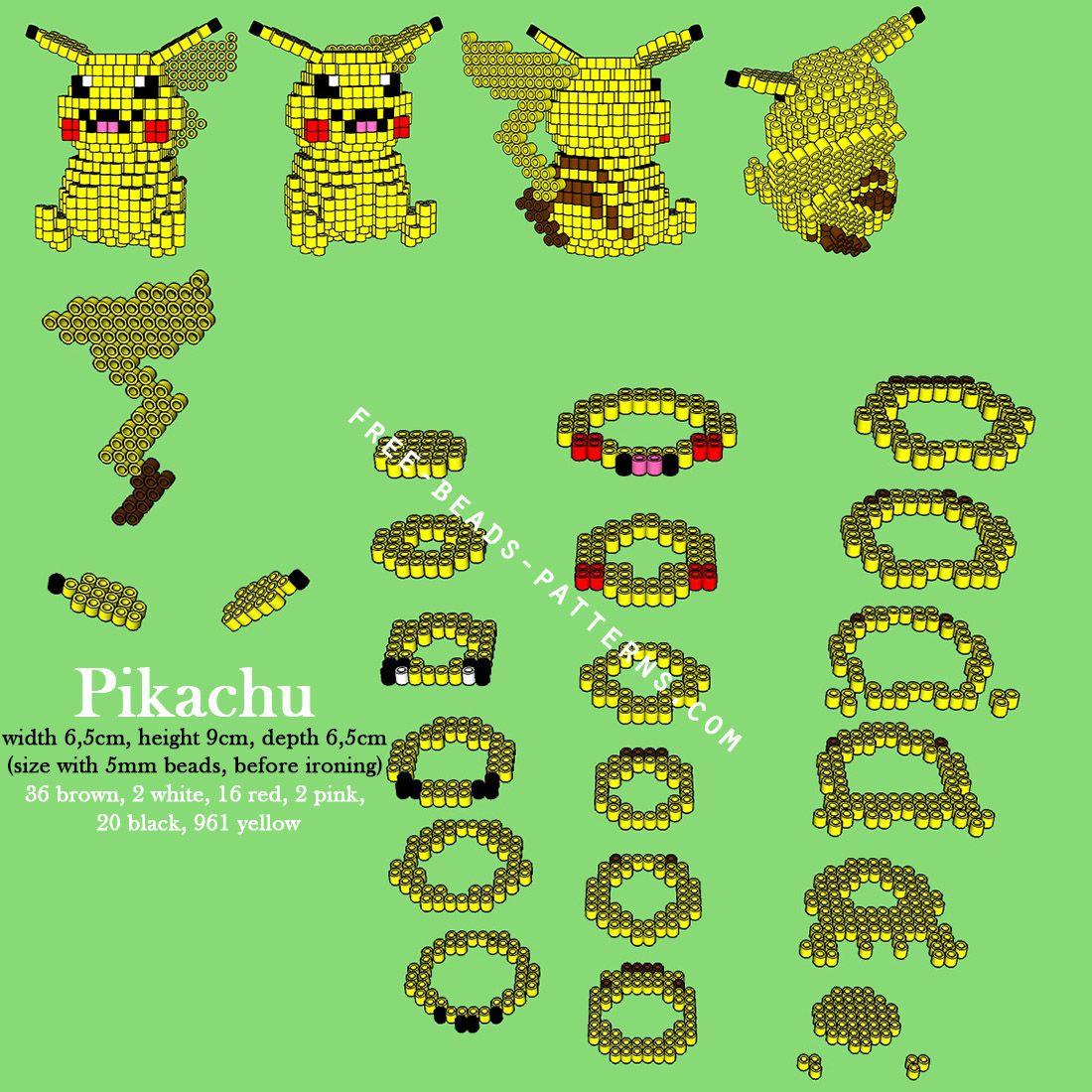 Pikachu Pokemon 3D Perler Beads Hama Pyssla Free