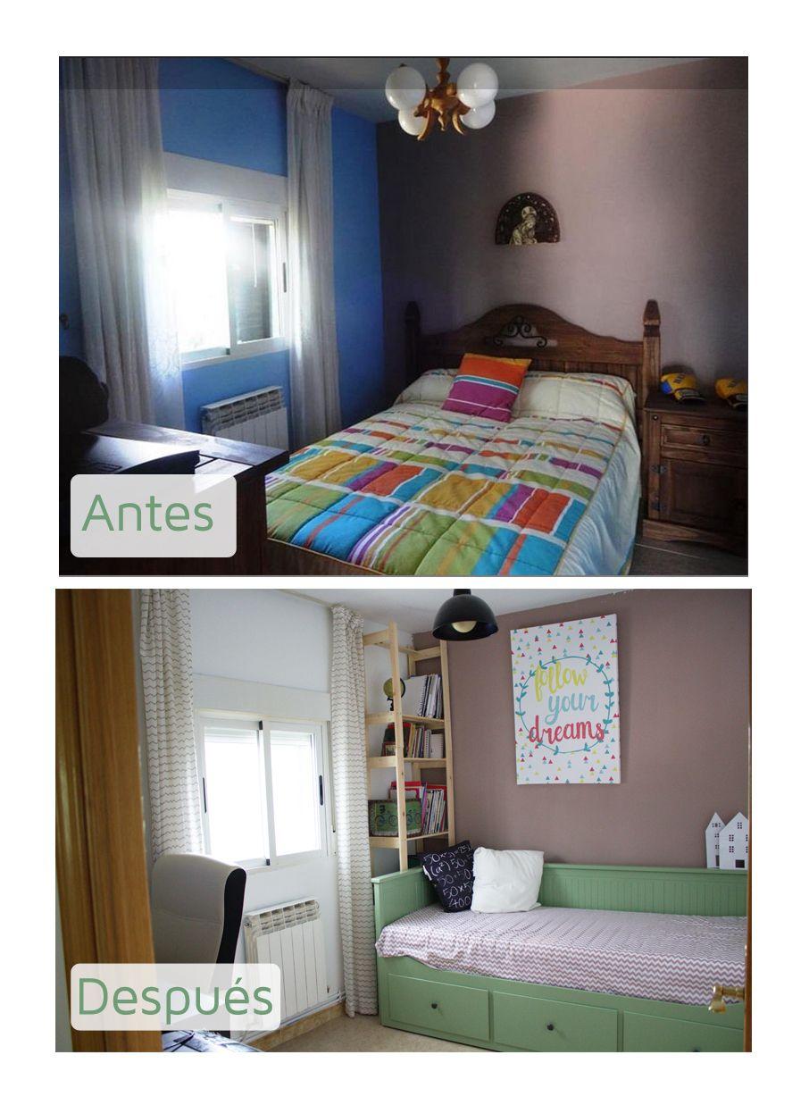 Antes y despu s de un dormitorio peque o convertido en for Renovar la casa dormitorio