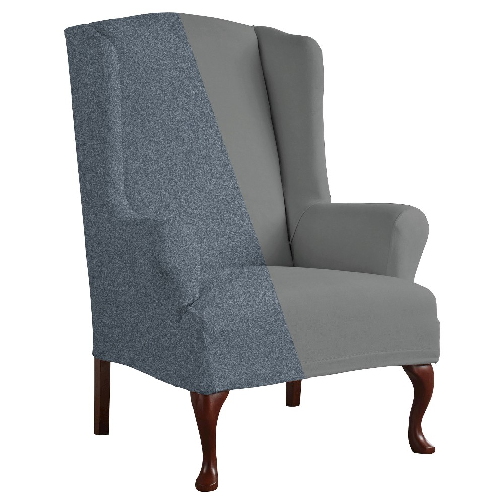 Serta Reversible Stretch Fit Slipcover Wing Chair - 1 Piece -