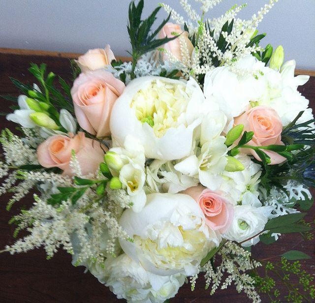 Peonies, Peach Roses, Hydrangeas