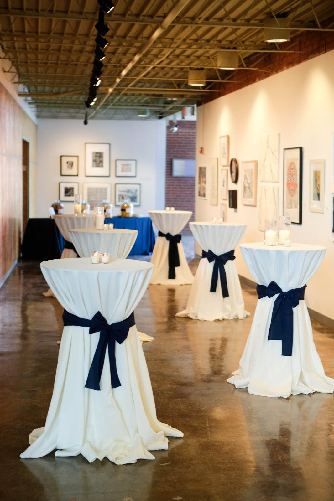 Reception Cocktail Tables With Navy Sashes Our Wedding