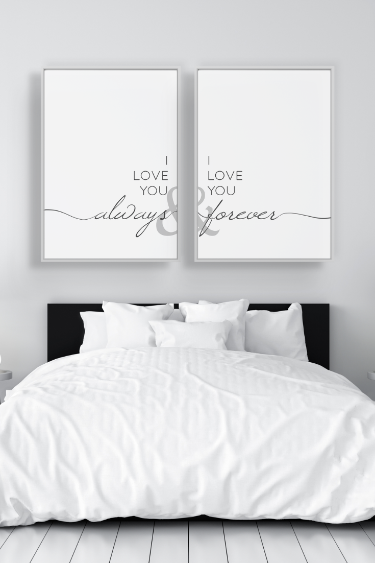 Above Bed Art Printable Wall Art 2 Piece Wall Art Above Bed Decor Above Bed Wall Art Bedroom Decor Bedroom Wall Art Anniversary Gifts Above Bed Decor Bedroom