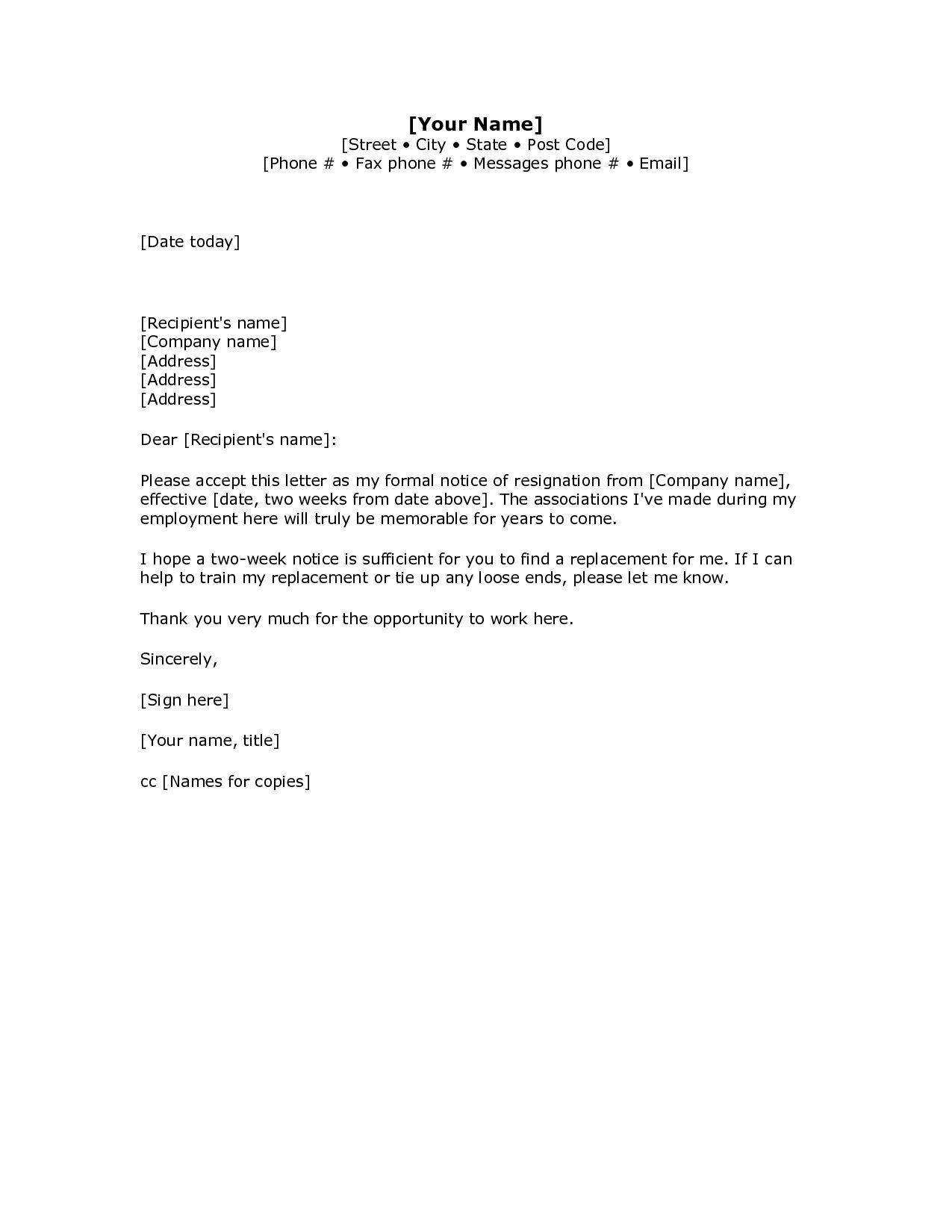2 Weeks Notice Letter Resignation Letter Week Notice Words For Two Week Notice Template Word Resignation Letter Sample Letter Template Word Resignation Letter