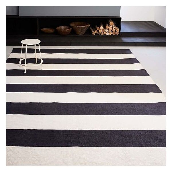 West Elm Bold Stripe Cotton Rug Black 5 X8 149