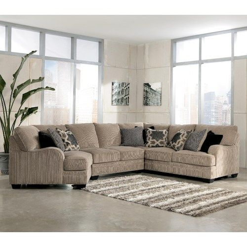 Signature Design By Ashley Katisha   Platinum 4 Piece Sectional Sofa With  Left Cuddler