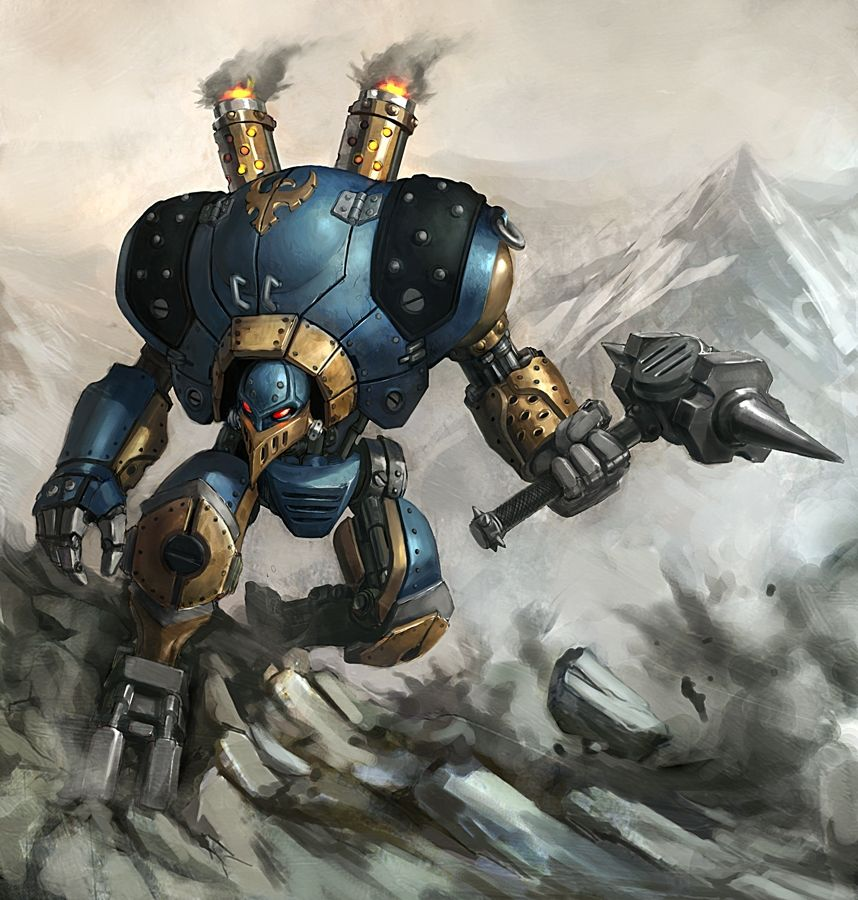 858x900 4187 Warmachine 2d Sci Fi Warrior Steampunk Robot
