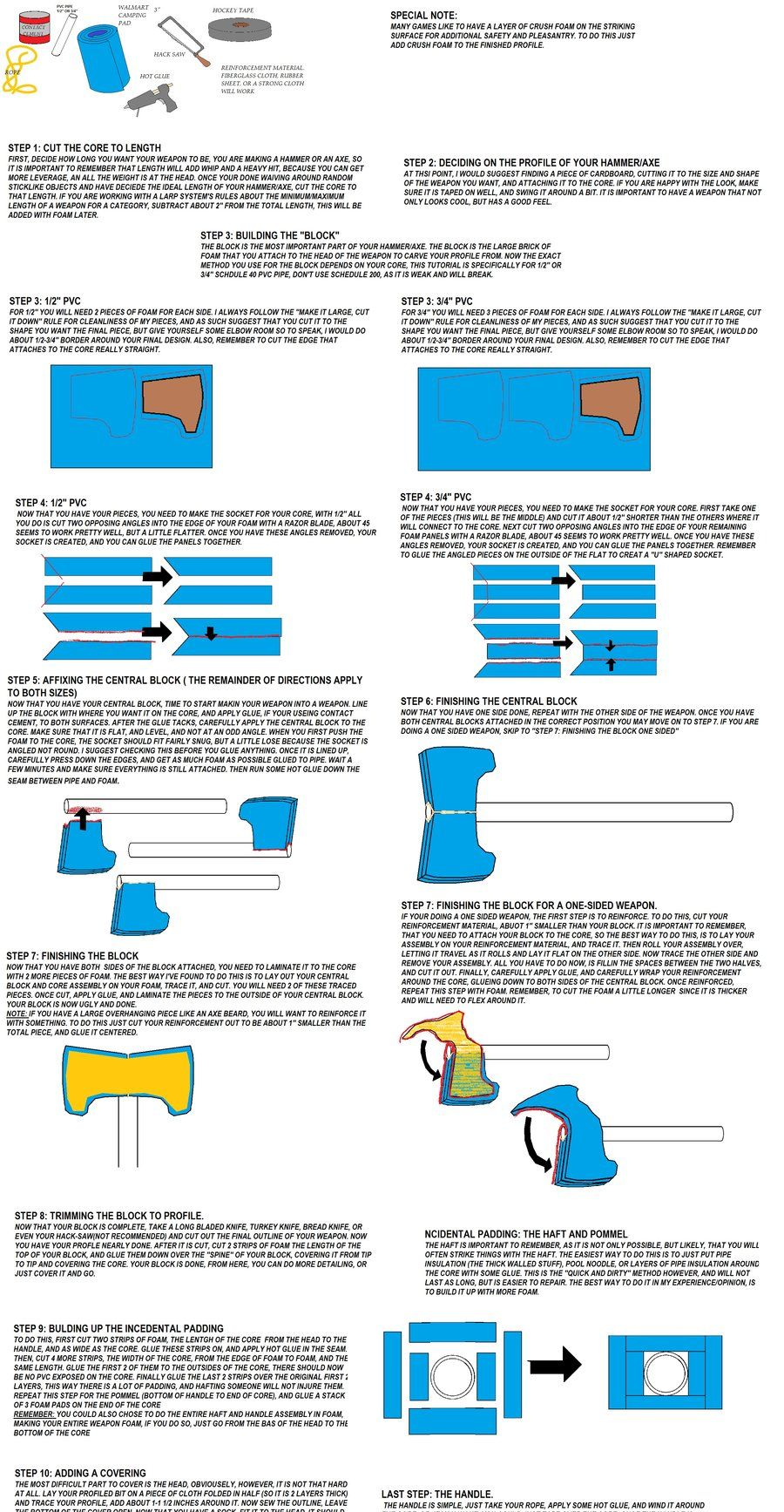 """A basic tutorial to building a """"block structured"""" hammer or axe bladed LARP weapon."""