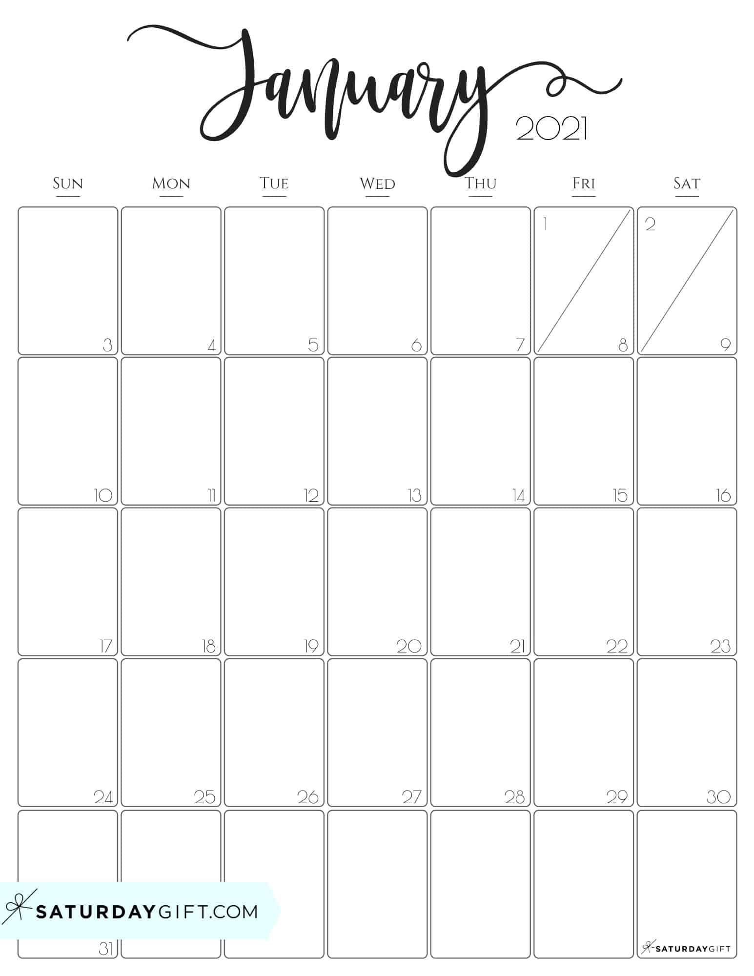 January 2021 Calendar Printable Free Cute (& Free!) Printable January 2021 Calendar | SaturdayGift in