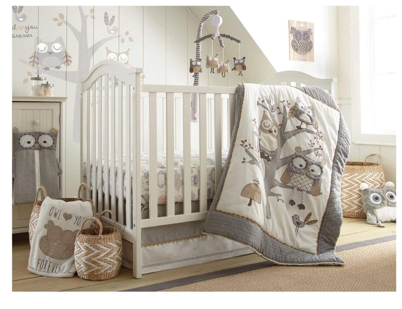 The Night Owl Nursery Collection Features A Detailed