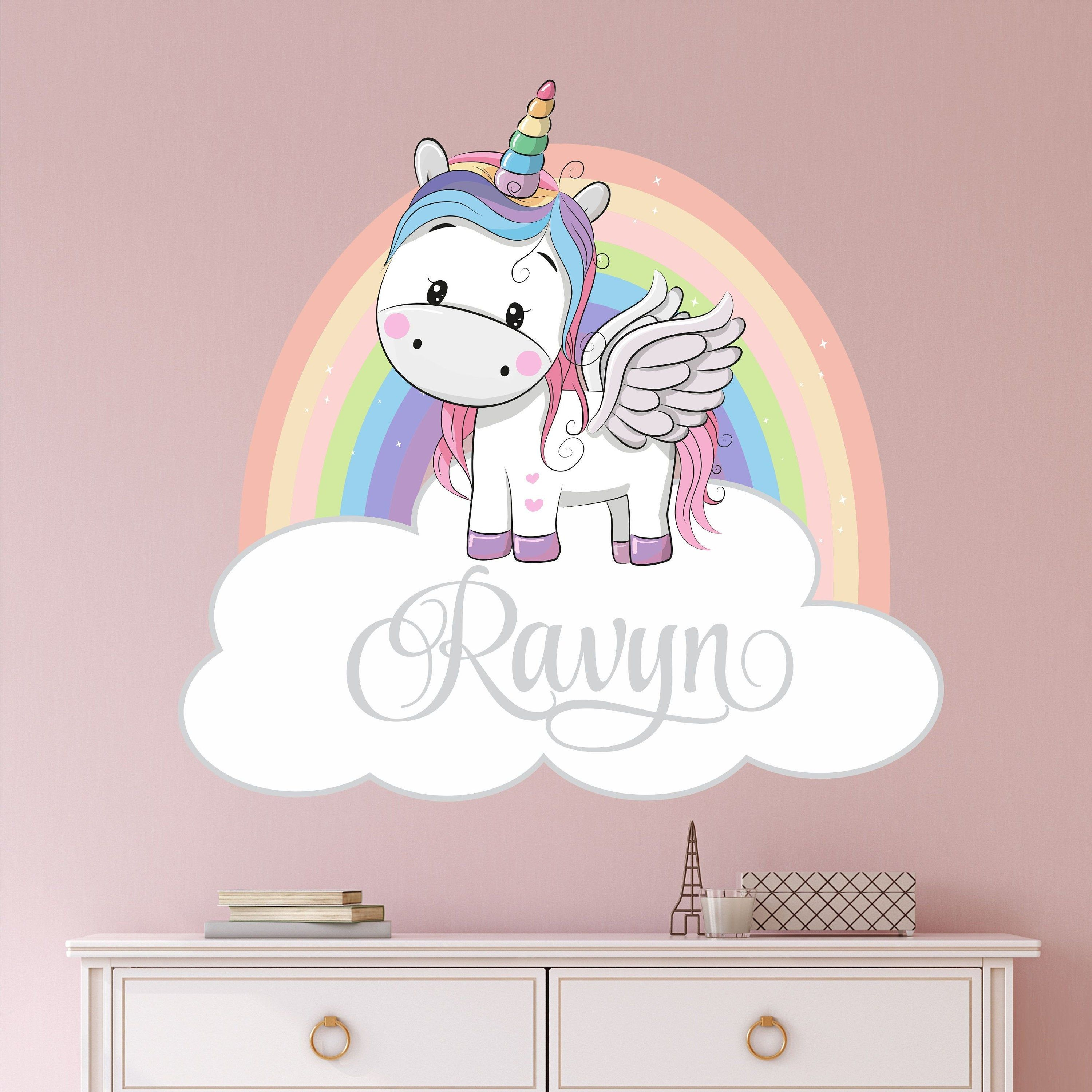 Rainbow Unicorn Wall Decal Personalized Name Custom Name Unicorn