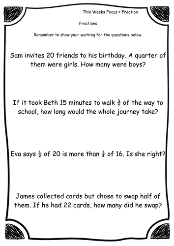 Year 2 - Fractions - Fraction word problems - Worksheets ...