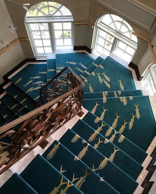 31 Stair Decor Ideas To Make Your Hallway Look Amazing: 'River Of Fish' Stair Carpet/Runner .... By The Rug