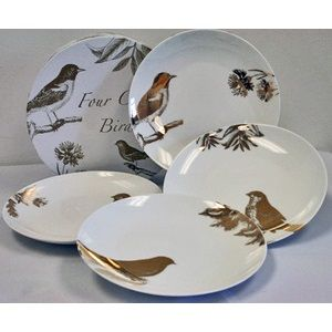 rosanna four calling birds salad plates birds gold white nature  sc 1 st  Pinterest & 12 Days of Christmas Four Calling Birds u2013 Rosanna Dessert Plates ...