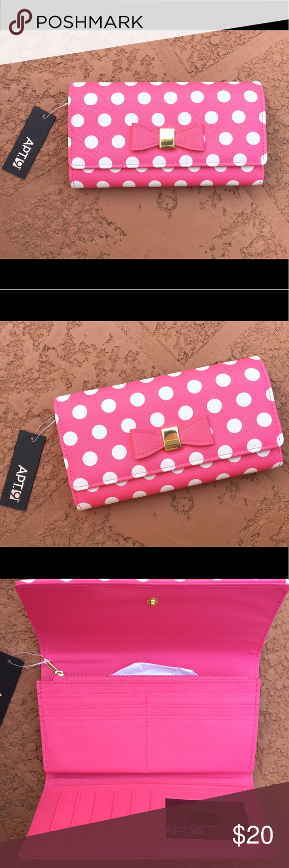 Adorable Kate Spade Inspired Wallet Clutch Like Kate and can't afford her? This will fake it till you make it! New with tags, this cute little clutch has quirky polka dots and a precious bow! Lots of room for all your cards and cash! 🛍🎀 kate spade Bags Wallets