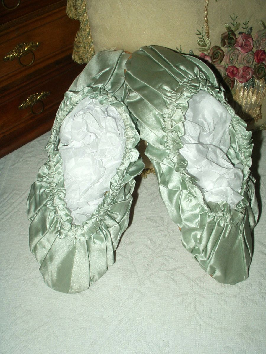 Vintage Victorian Edwardian Blue Silk Satin Bedroom Slippers Leather Soles 65 00 The Gatherings Antique